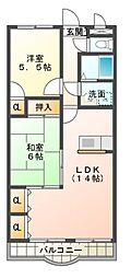 愛知県岡崎市上六名3丁目の賃貸アパートの間取り