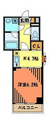 JR中央線 西八王子駅 徒歩4分の賃貸マンション 4階1DKの間取り