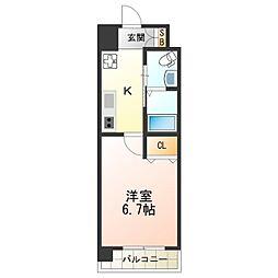 Marks西田辺 5階1Kの間取り