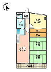 愛知県名古屋市名東区高間町の賃貸マンションの間取り