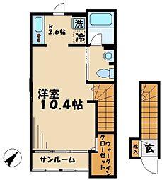 京王相模原線 京王多摩センター駅 徒歩11分の賃貸アパート 2階1Kの間取り