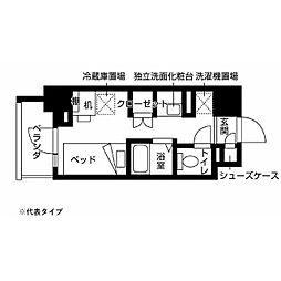 小田急多摩線 小田急多摩センター駅 徒歩10分の賃貸マンション 6階ワンルームの間取り