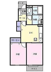 東武東上線 川越駅 バス4分 下寺山下車 徒歩15分の賃貸アパート 1階2DKの間取り