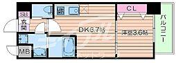 北大阪急行電鉄 緑地公園駅 徒歩10分の賃貸マンション 4階1DKの間取り