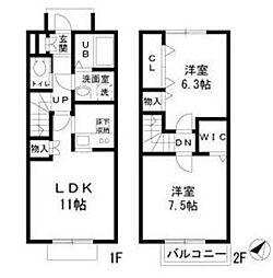 東武伊勢崎線 草加駅 バス15分 井草天満宮下車 徒歩3分の賃貸テラスハウス 1階2LDKの間取り