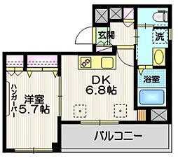(仮称)富士見台4丁目HBS計画 3階1DKの間取り
