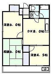 美春ハイツ 2階3DKの間取り