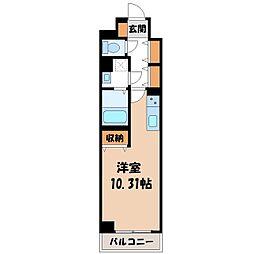 JR東北本線 宇都宮駅 徒歩6分の賃貸マンション 10階ワンルームの間取り
