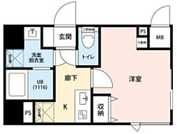 東急東横線 武蔵小杉駅 徒歩8分の賃貸マンション 4階1Kの間取り
