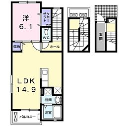 愛知県豊橋市一色町字一色郷の賃貸アパートの間取り