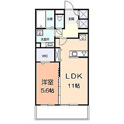 アメニティー多摩区枡形1丁目アパート 3階1LDKの間取り