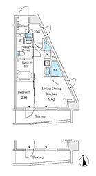 東京メトロ丸ノ内線 中野坂上駅 徒歩3分の賃貸マンション 2階1LDKの間取り