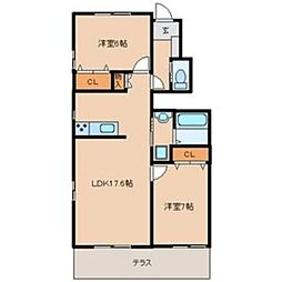 [テラスハウス] 福岡県福岡市早良区室見4丁目 の賃貸【/】の間取り
