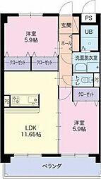 愛知県小牧市大字間々の賃貸マンションの間取り