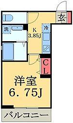 JR総武線 幕張駅 徒歩4分の賃貸マンション 2階1Kの間取り
