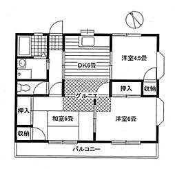 東京都羽村市川崎4丁目の賃貸アパートの間取り
