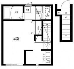 JR中央線 三鷹駅 徒歩12分の賃貸アパート 2階1Kの間取り