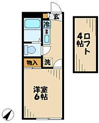 京王相模原線 京王多摩センター駅 徒歩10分の賃貸マンション 2階1Kの間取り
