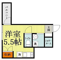 JR中央線 西国分寺駅 徒歩9分の賃貸マンション 1階ワンルームの間取り