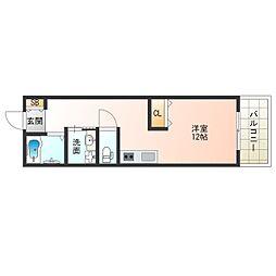Osaka Metro四つ橋線 肥後橋駅 徒歩6分の賃貸マンション 4階ワンルームの間取り