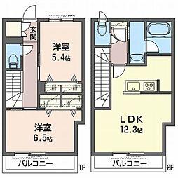 ドミールF 1階2LDKの間取り