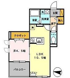 埼玉県さいたま市大宮区櫛引町1丁目の賃貸アパートの間取り