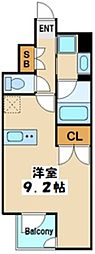レジディア高円寺 1階ワンルームの間取り