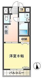 愛知環状鉄道 愛環梅坪駅 徒歩14分の賃貸マンション 2階1Kの間取り