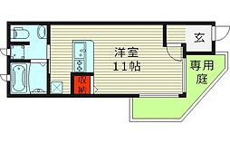 セサンク太子橋 1階ワンルームの間取り
