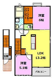 茨城県下妻市半谷の賃貸アパートの間取り