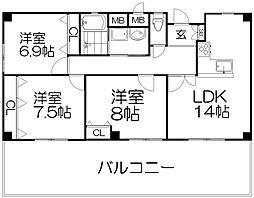 プレスト東田宮[6階]の間取り