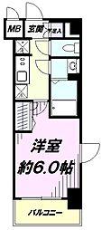JR中央線 立川駅 徒歩8分の賃貸マンション 2階1Kの間取り