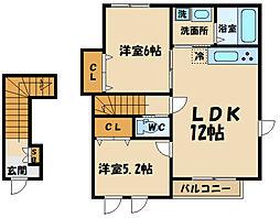 (仮称)府中市若松町2丁目計画 2階2LDKの間取り
