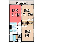 栃木県宇都宮市砥上町の賃貸マンションの間取り