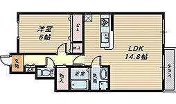大阪府高石市加茂3丁目の賃貸アパートの間取り