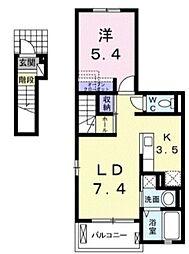 JR総武線 千葉駅 バス10分 都町下車 徒歩4分の賃貸アパート 2階1LDKの間取り