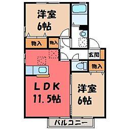 栃木県小山市犬塚2丁目の賃貸アパートの間取り