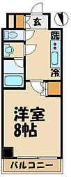 京王線 布田駅 徒歩2分の賃貸マンション 3階1Kの間取り