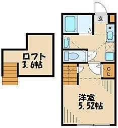 京王線 北野駅 徒歩7分の賃貸アパート 2階1Kの間取り