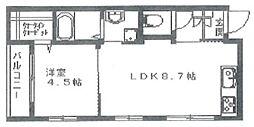ラ・ピコリーナ奥沢 2階1LDKの間取り