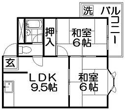 サンコーポ香里[4階]の間取り