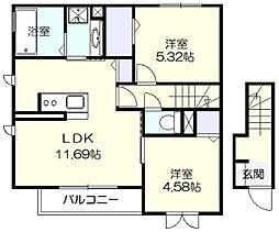 仮)アメニティー北山田アパート[201号室]の間取り