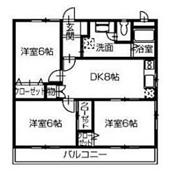 ラヴェニューモリ2[2階]の間取り