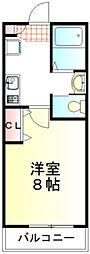 西武新宿線 本川越駅 徒歩11分の賃貸アパート 1階1Kの間取り