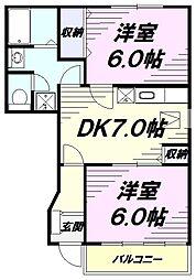 西武拝島線 武蔵砂川駅 徒歩15分の賃貸アパート 1階2DKの間取り
