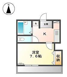 愛知県みよし市黒笹いずみ3の賃貸アパートの間取り