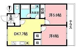 アライブハイツ協栄2 1階2DKの間取り
