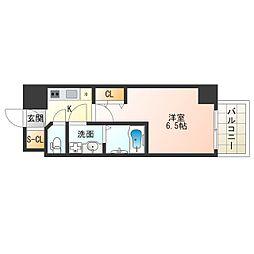 阪神なんば線 九条駅 徒歩2分の賃貸マンション 13階1Kの間取り