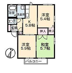 岡山県倉敷市福田町浦田の賃貸アパートの間取り