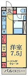 JR京葉線 蘇我駅 徒歩4分の賃貸マンション 2階1Kの間取り
